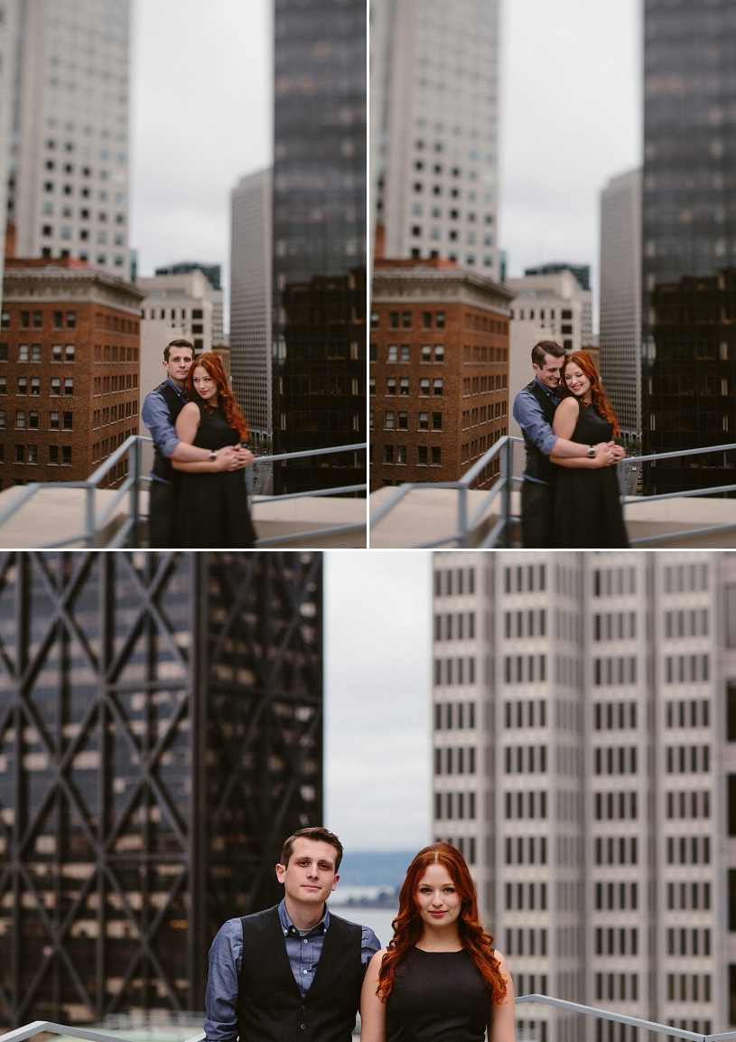 Romantic roof top editorial engagement session