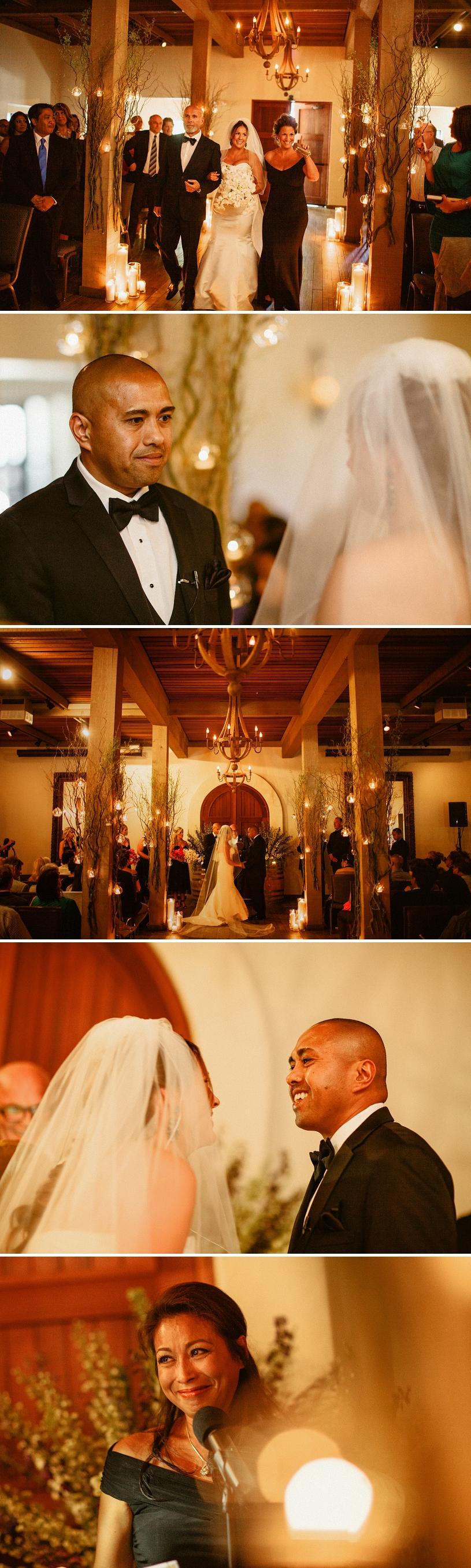 candlelit wedding ceremony at wente vineyards
