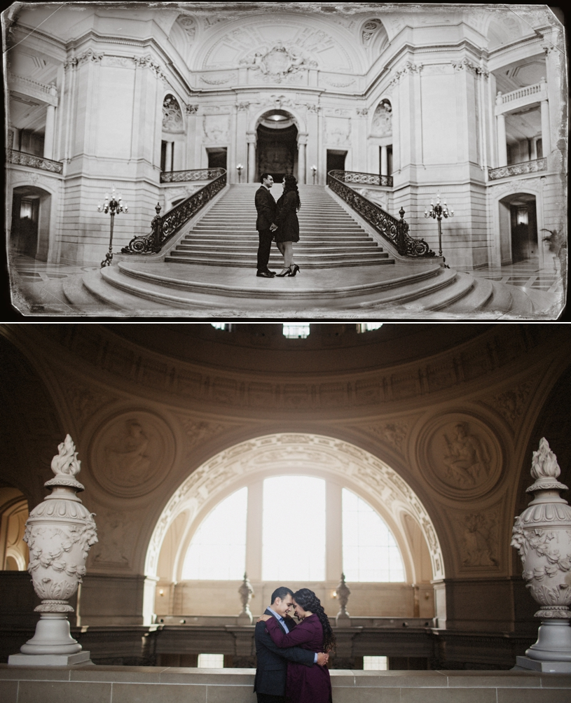 Engagement Session on the Stairs of San Francisco City Hall