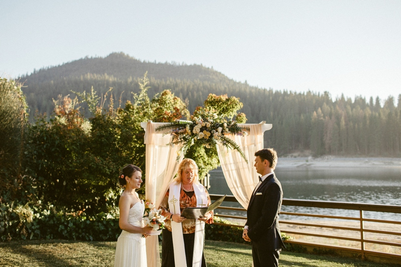 Bass Lake wedding on the water