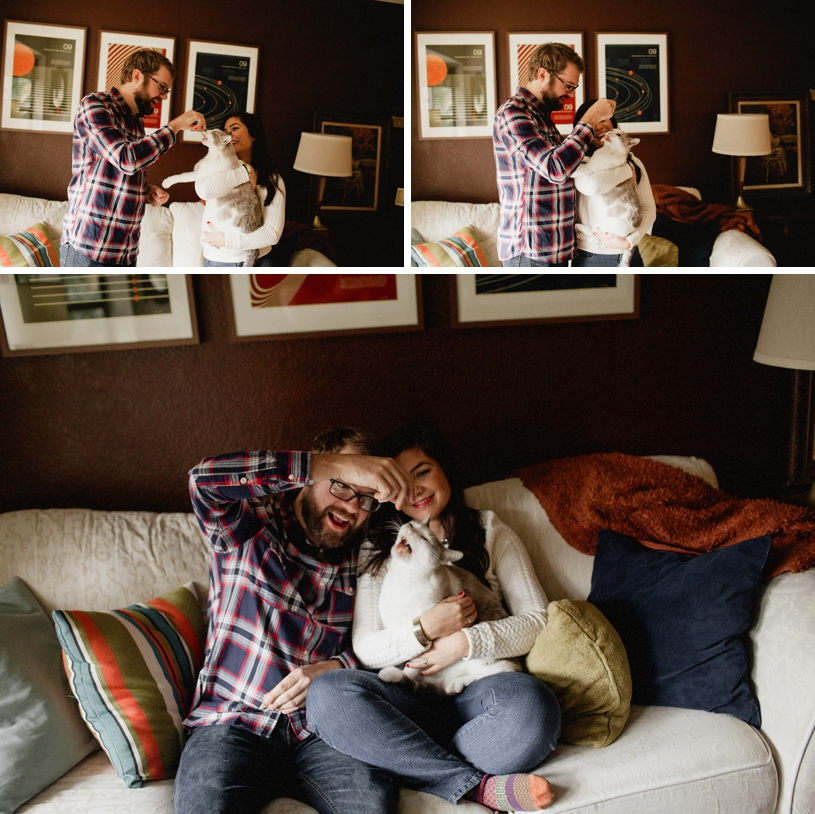 sweet engagement session featuring a pet cat