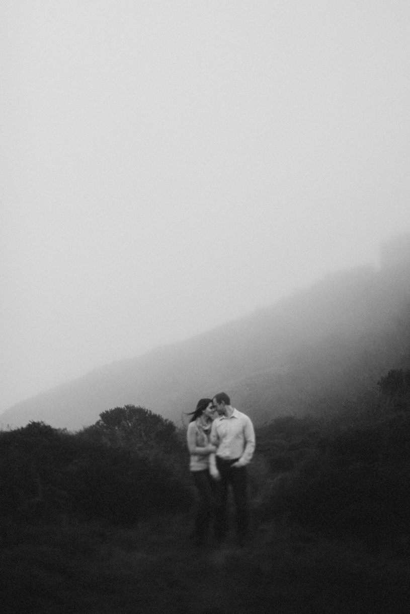 misty and dark engagement photo in san francisco by heather elizabeth photography