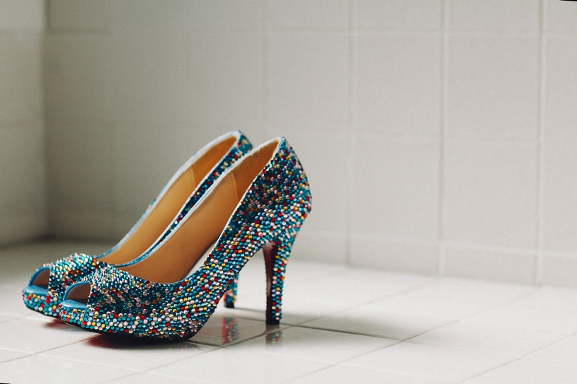 Cinderella themed wedding shoes