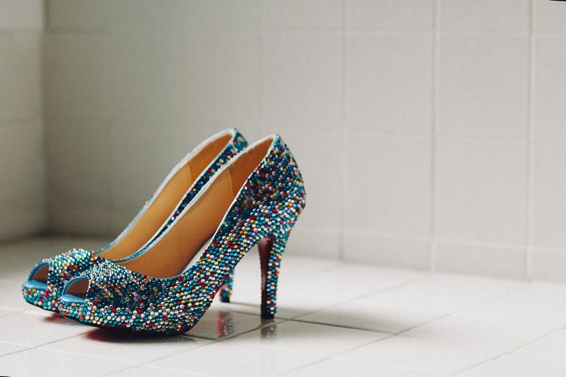 Cinderella themed wedding shoes