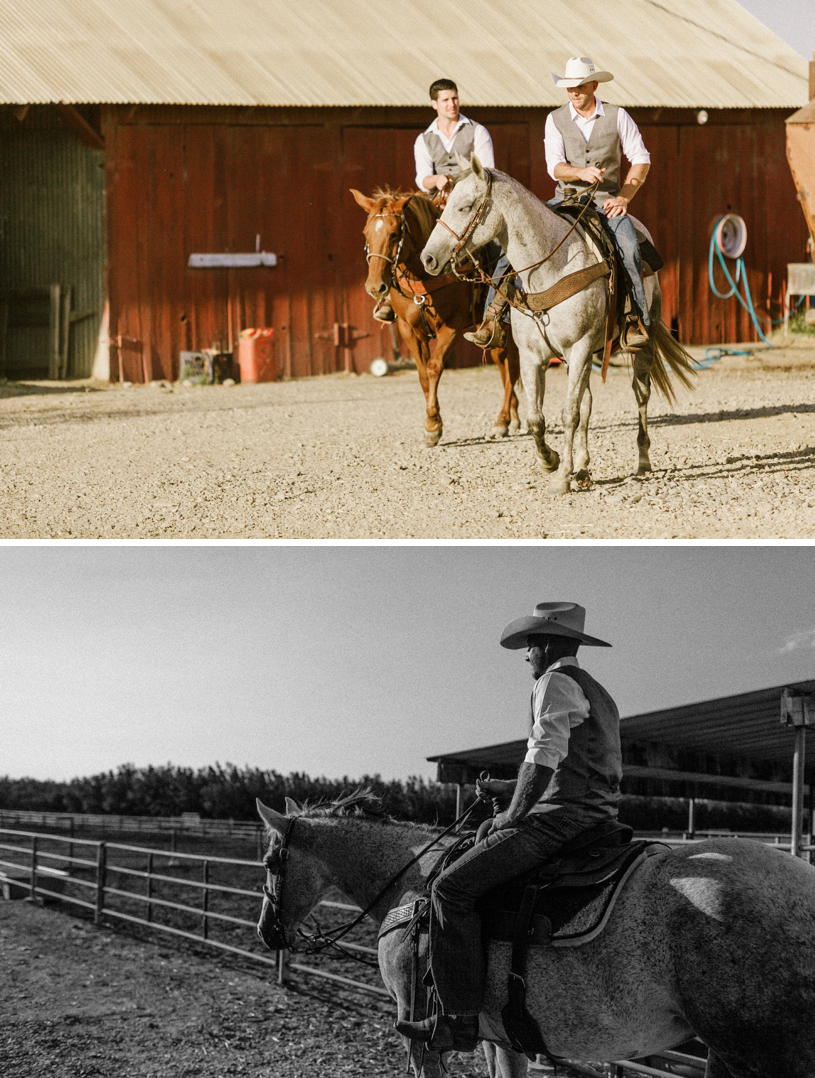 groom riding horseback into his wedding at a barn by heather elizabeth photography