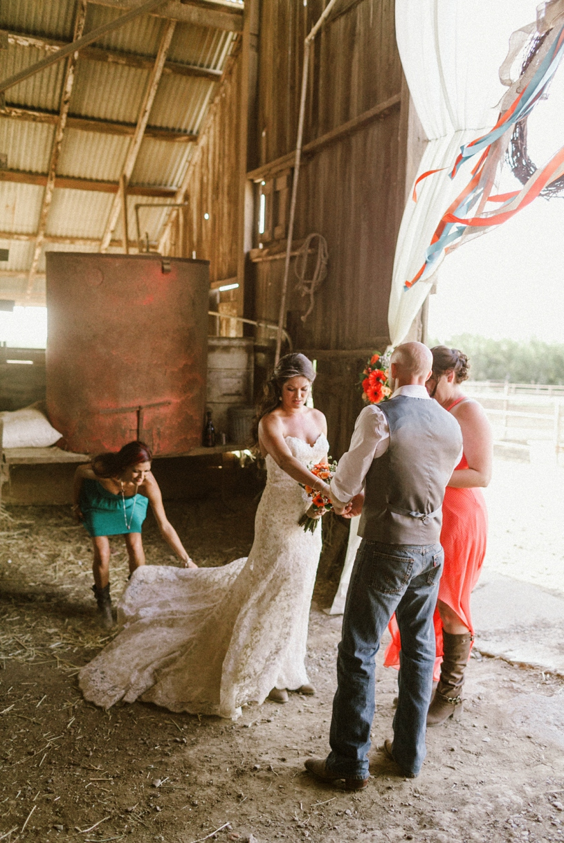 converted barn into a wedding ceremony location in the central valley california by heather elizabeth photography