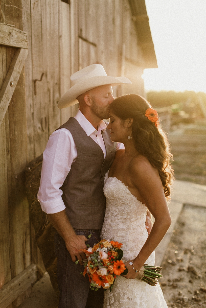 Romantic sunset wedding photo at a couple's barn farmhouse wedding by heather elizabeth photography