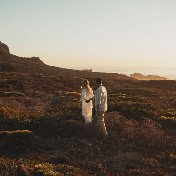 Bohemian styled elopement in Big Sur California by Heather Elizabeth Photography