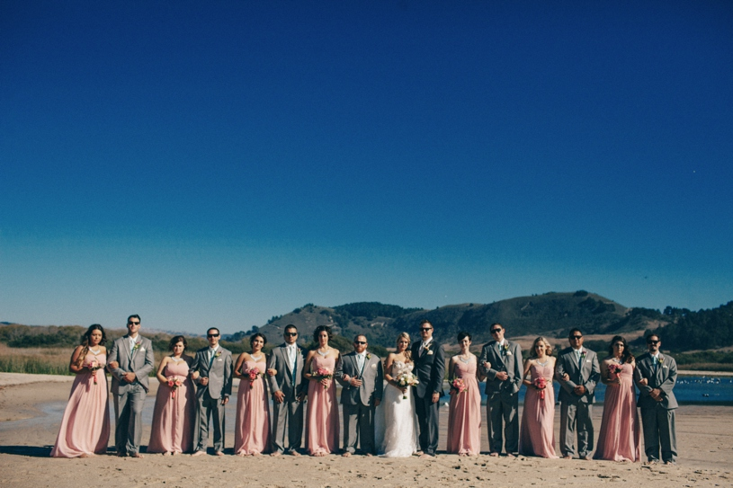 blush pink and grey bridal party colors on the beaches of carmel for a wedding by heather elizabeth photography