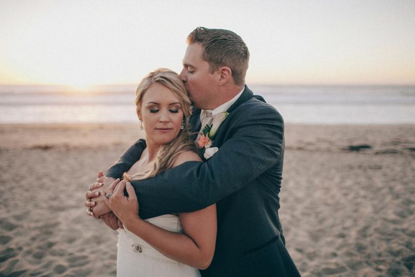 sunset wedding portrait in carmel at THE SANCTUARY BEACH RESORT, CALIFORNIA  by heather elizabeth