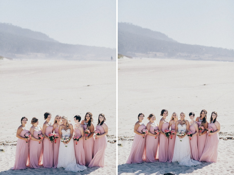 floor length gowns at a beach wedding in carmel by heather elizabeth photographer