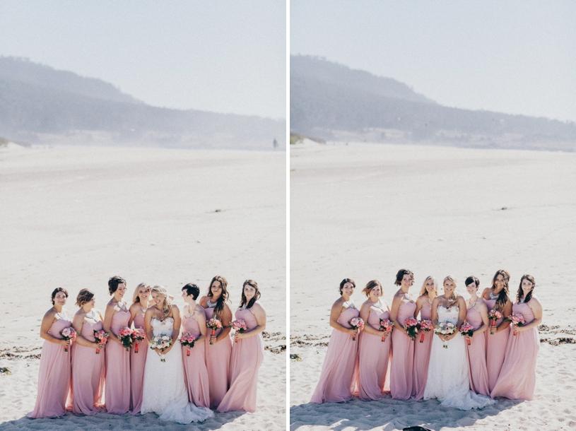 floor length gowns at a beach wedding in carmel by heather elizabeth photographer