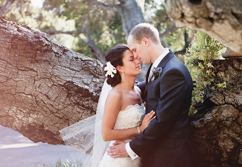 romantic glamourous purple wedding bride and groom portrait at the holman ranch in carmel california by heather elizabeth photography