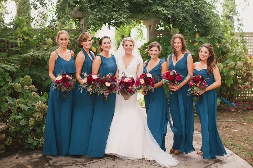 Teal and maroon bridal party at the vine hill house by heather elizabeth photography