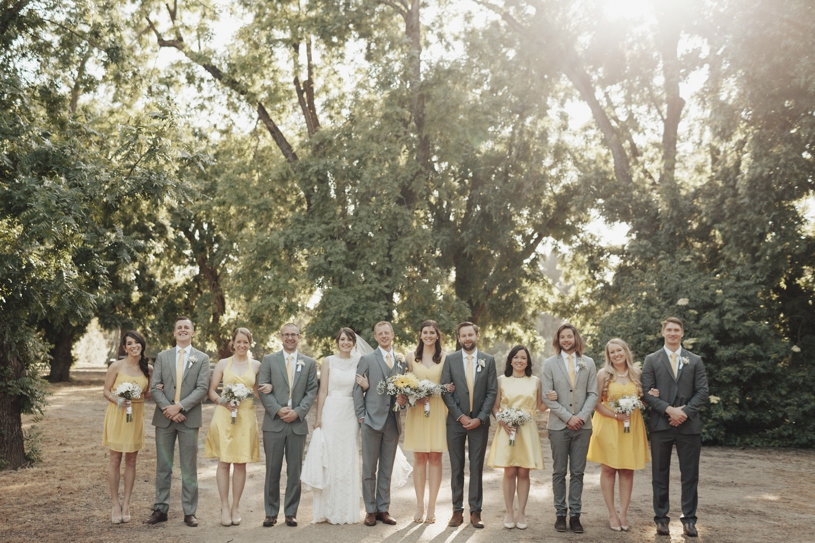 grey and yellow bridal party outfits by heather elizabeth photography