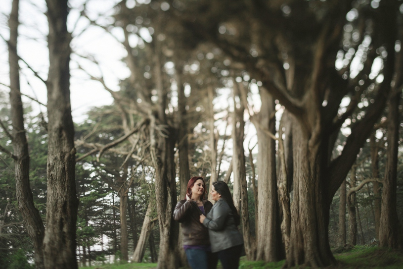 same sex engagement session overlooking the golden gate bridge in san francisco by heather elizabeth photography