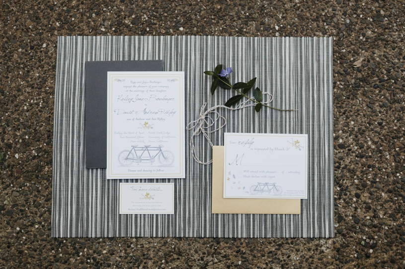 yellow and grey bicycle themed wedding invites at a UC davis wedding by heather elizabeth photography