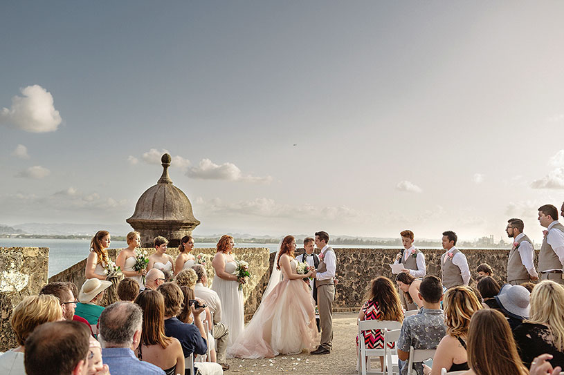 Wedding in Old San Juan Puerto Rico with a blush pink wedding dress by Heather Elizabeth Photography