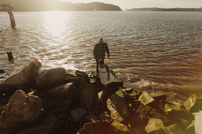 A tattooed couple engagement session on the coastline of Benicia California by Heather Elizabeth Photography