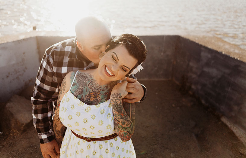 adorable candid engagement session of a tattooed couple in Benicia california by heather elizabeth photography