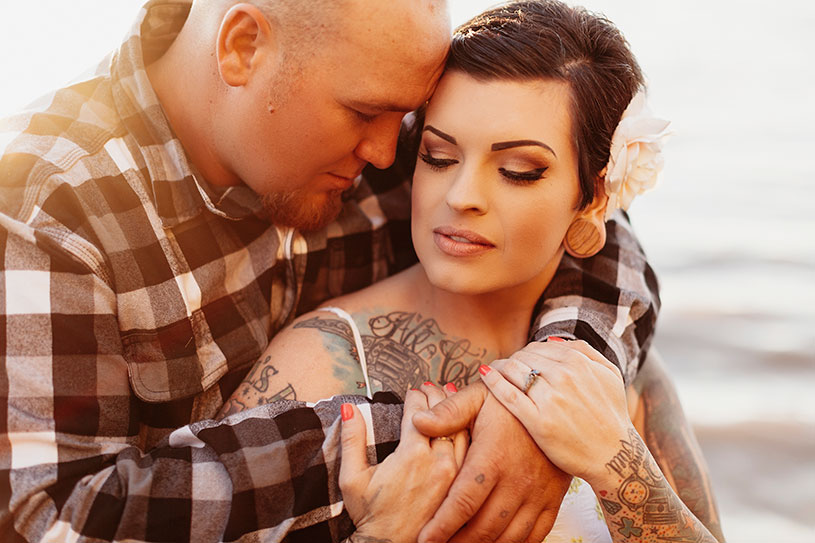 tattooed couple engagement at sunset in benicia california by heather elizabeth photography