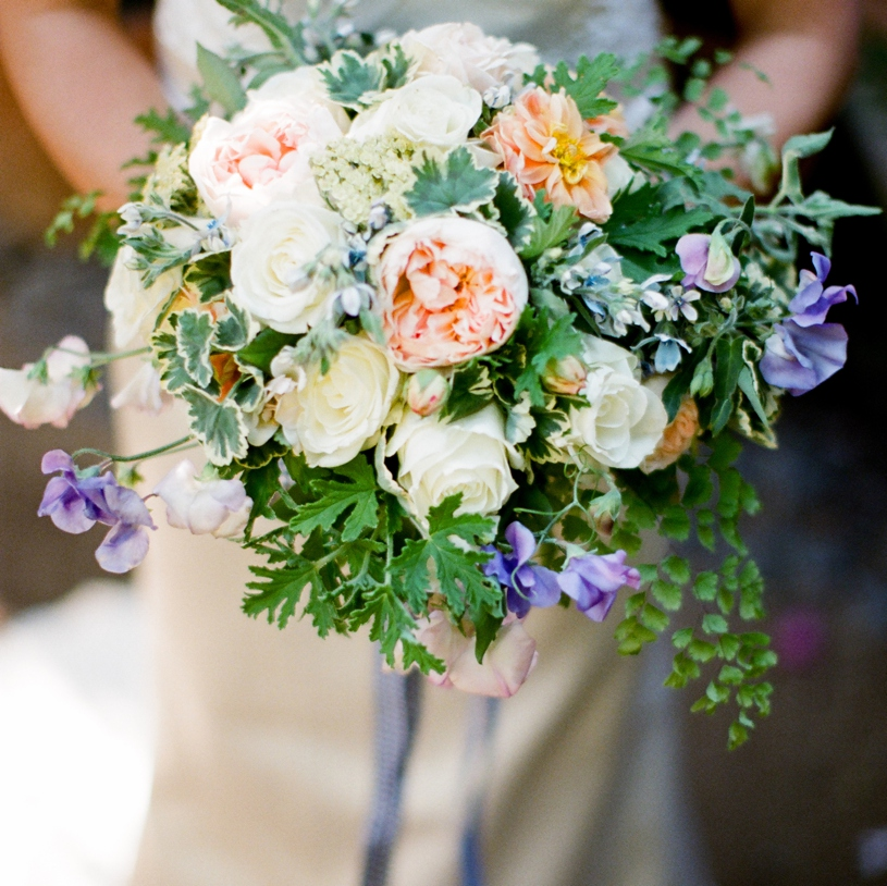 Bridal bouquet by Big Sur Flowers at the Holly Farm in Carmel by Heather Elizabeth Photography