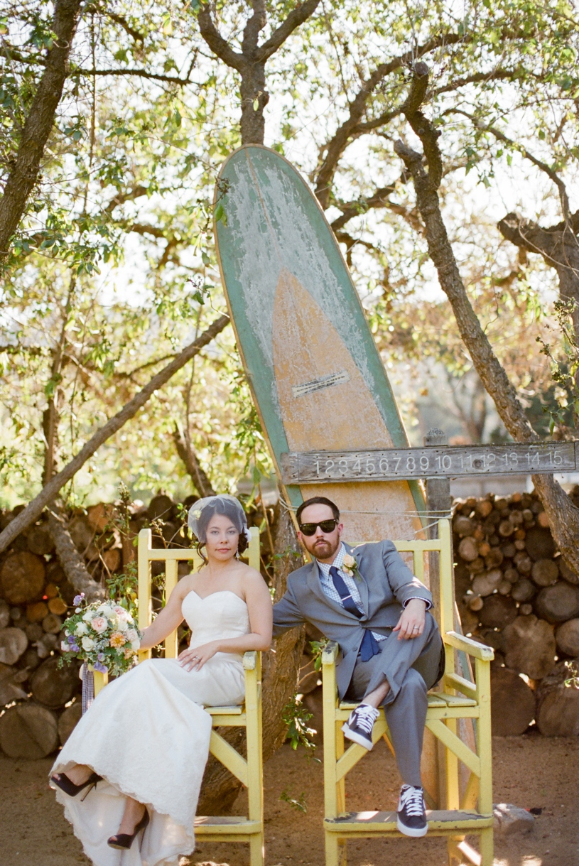 Hipster bride and groom portrait with a Lea-Ann Belter at the Holly Farm in Carmel by Heather Elizabeth Photography