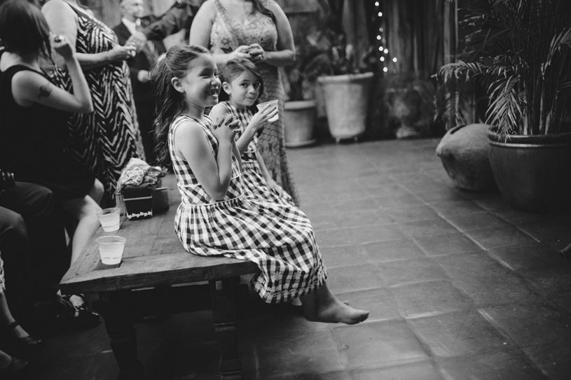 gingham flower girls at a wedding reception at the holly farm by heather elizabeth photography