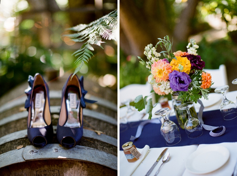 Gingham wedding details and Big Sur Flowers at the Holly Farm in Carmel by Heather Elizabeth Photography
