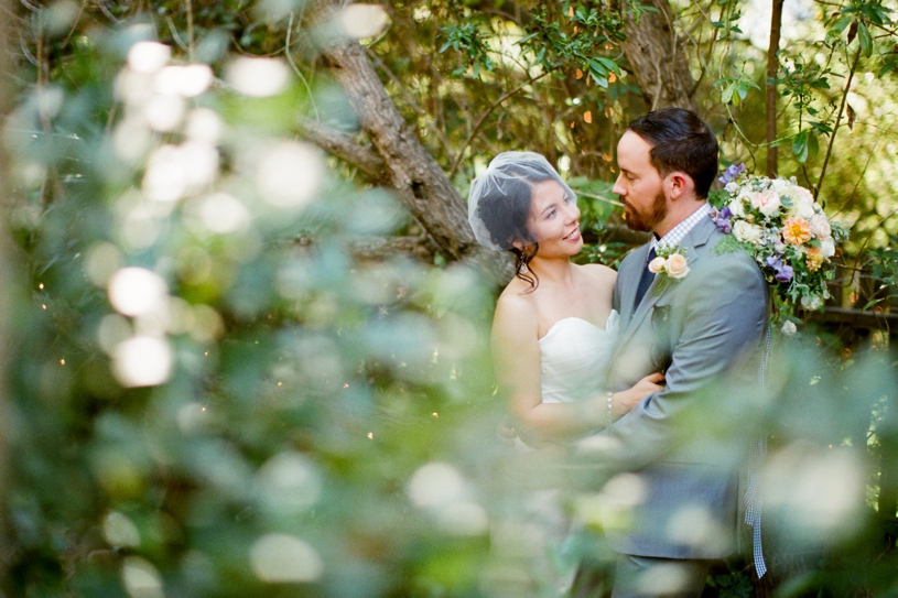 Hipster bride and groom portrait at the Holly farm by heather elizabeth Photography