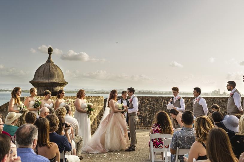 Wedding ceremony at Plazuela le Rogativa in Old San Juan Puerto Rico by Heather Elizabeth Photography