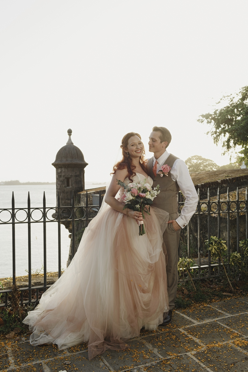 Blush pink Vera Wang white altered wedding gown at Plazuela le Rogativa in Old San Juan Puerto Rico by Heather Elizabeth Photography