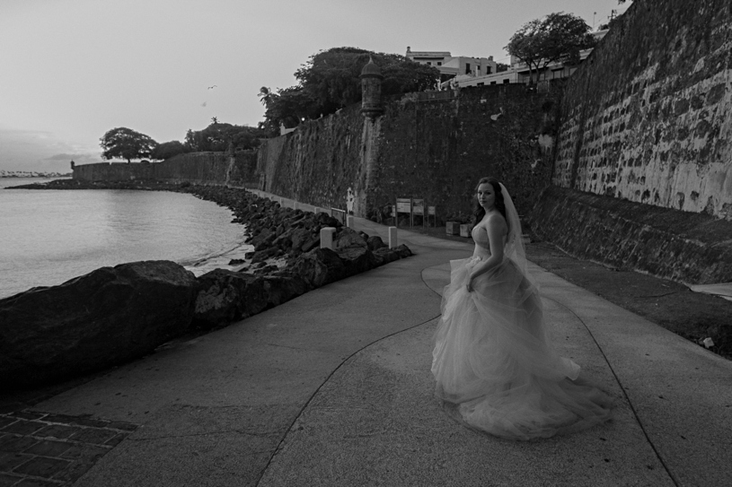 bride in a vera wang white gown at Plazuela le Rogativa in old san juan by heather elizabeth photography