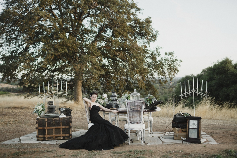 Black La Soie Bridal gown at at gothic fall inspiration wedding by Heather Elizabeth Photography