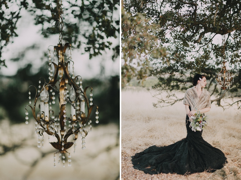 fall haunted wedding inspiration with a black wedding gown by heather Elizabeth photography