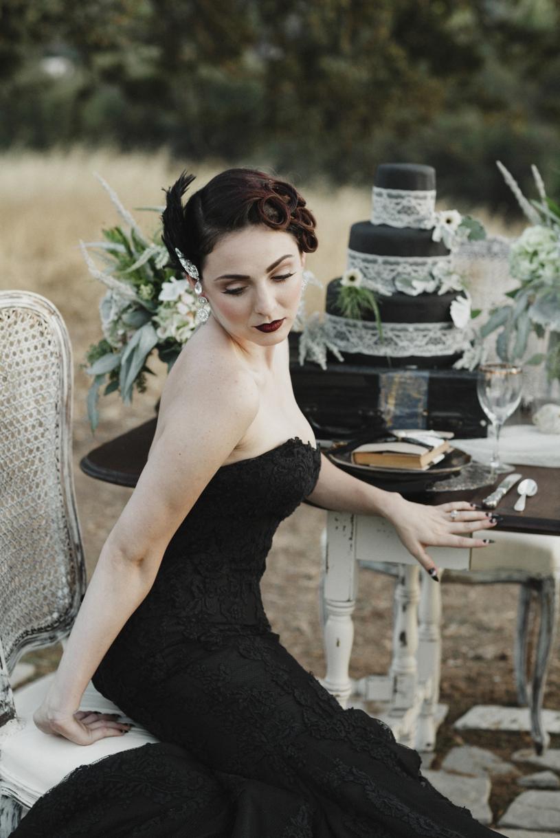 gothic fall edgar allen poe wedding inspiration with a black wedding gown by la soie bridal by heather elizabeth photography
