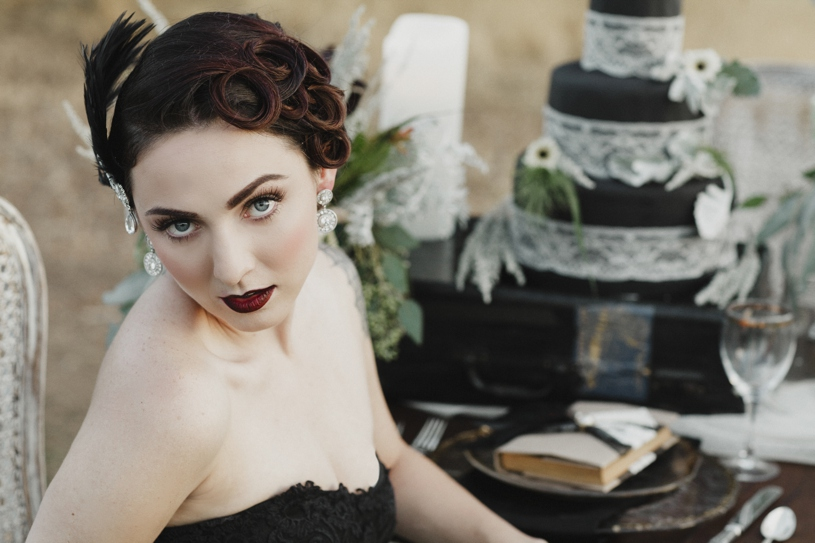gothic bridal makeup and hair fall inspiration by heather elizabeth photography