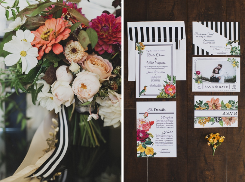 classic art deco stripe wedding stationary at the citizen hotel by heather elizabeth photography