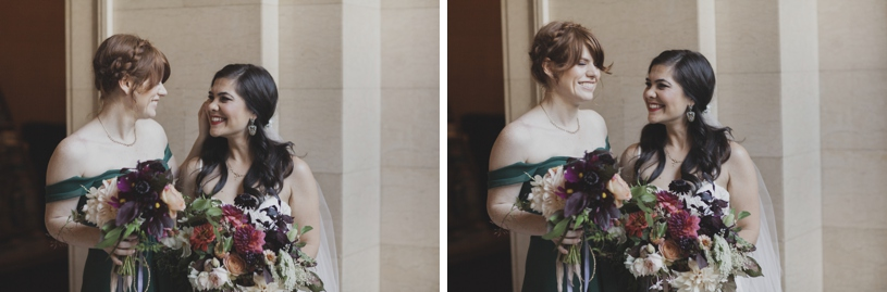 bride and her bridesmaid in the lobby of the citizen hotel in sacramento by heather elizabeth photography