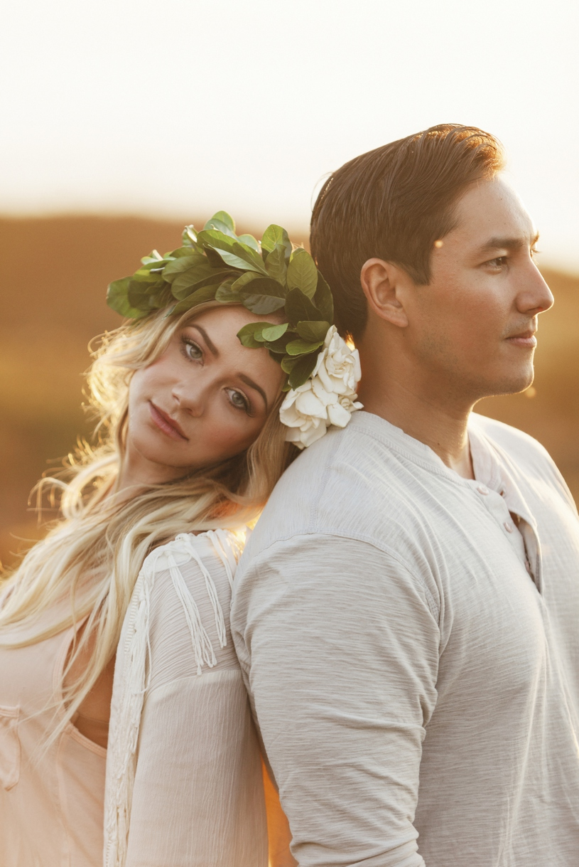 bohemian flower crown bride engagement session in big sur by heather elizabeth photography
