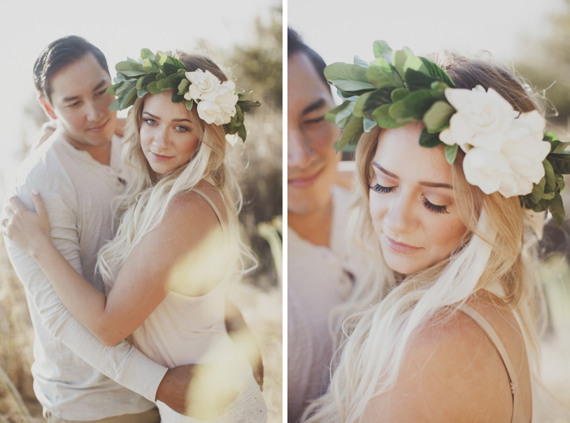 Flower Crown bohemian bride in Big Sur by Heather Elizabeth Photography