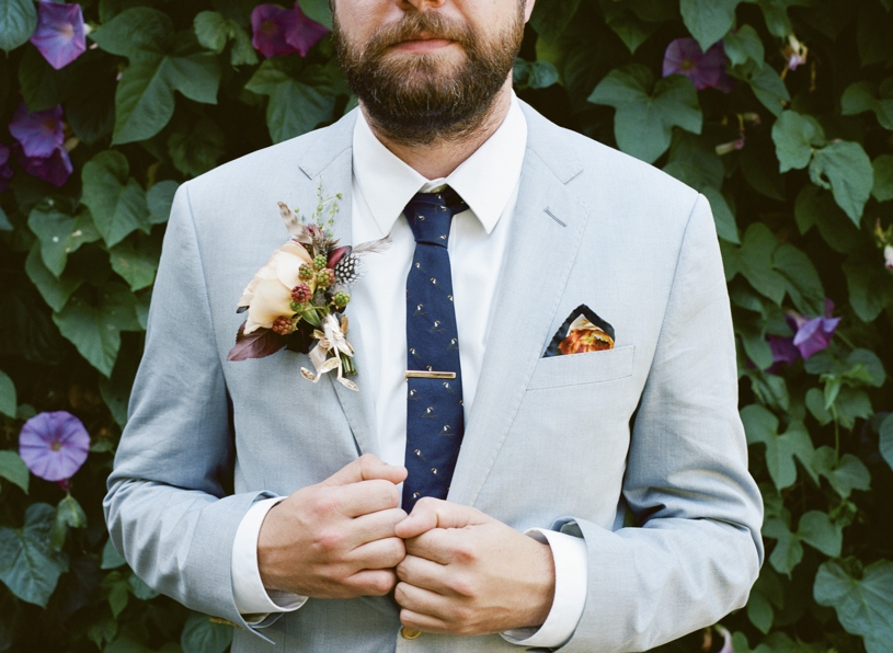 Contemporary hip fall groom flowers at a wedding at the Citizen Hotel by Heather Elizabeth Photography