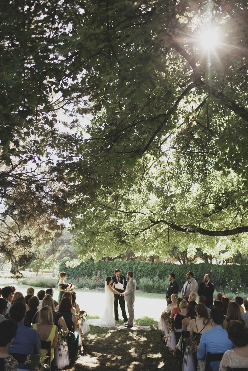 intimate hip bohemian wedding ceremony in sacramento california by heather elizabeth photography