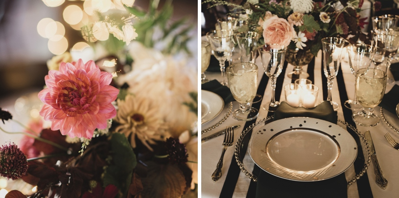 black and white chic stripe wedding at the antique maison privee by heather elizabeth photography