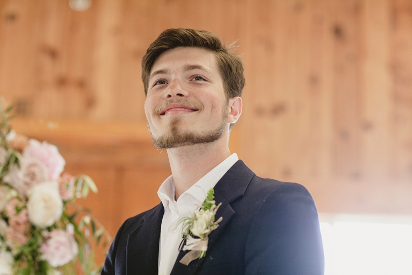 Groom waiting for his bride to arrive at his wedding in San Carlos at the Williams Barn by Heather Elizabeth Photography