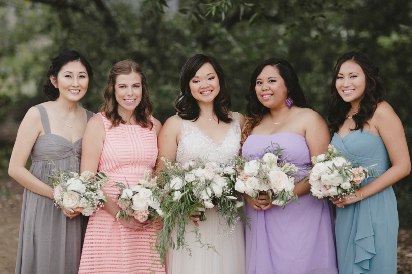 pastel colored bridesmaids dresses at a summer wedding in San Carlos California by Heather Elizabeth Photography
