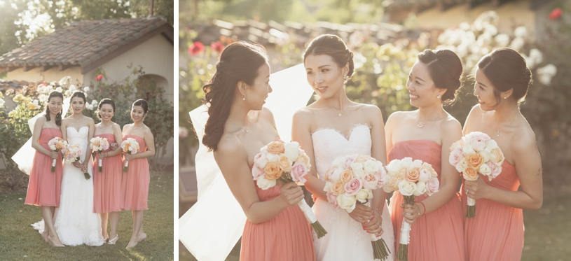 salmon and yellow bridesmaids dresses and flowers at the adobo lodge by heather elizabeth photography