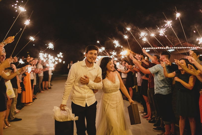 Destination wedding in San Diego with a sparkler exit by Heather Elizabeth Photography