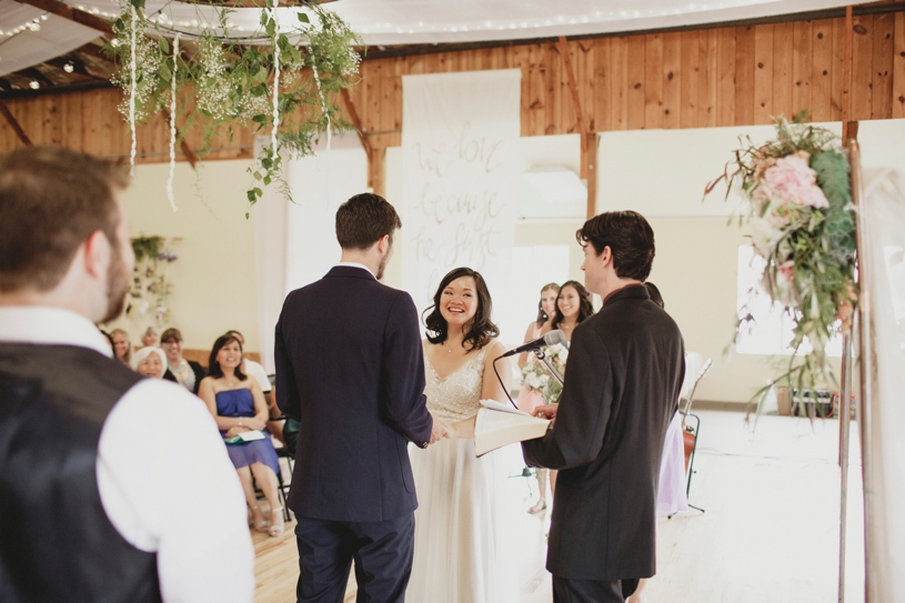 wedding ceremony at the Williams Barn in San Carlos by Heather Elizabeth Photography