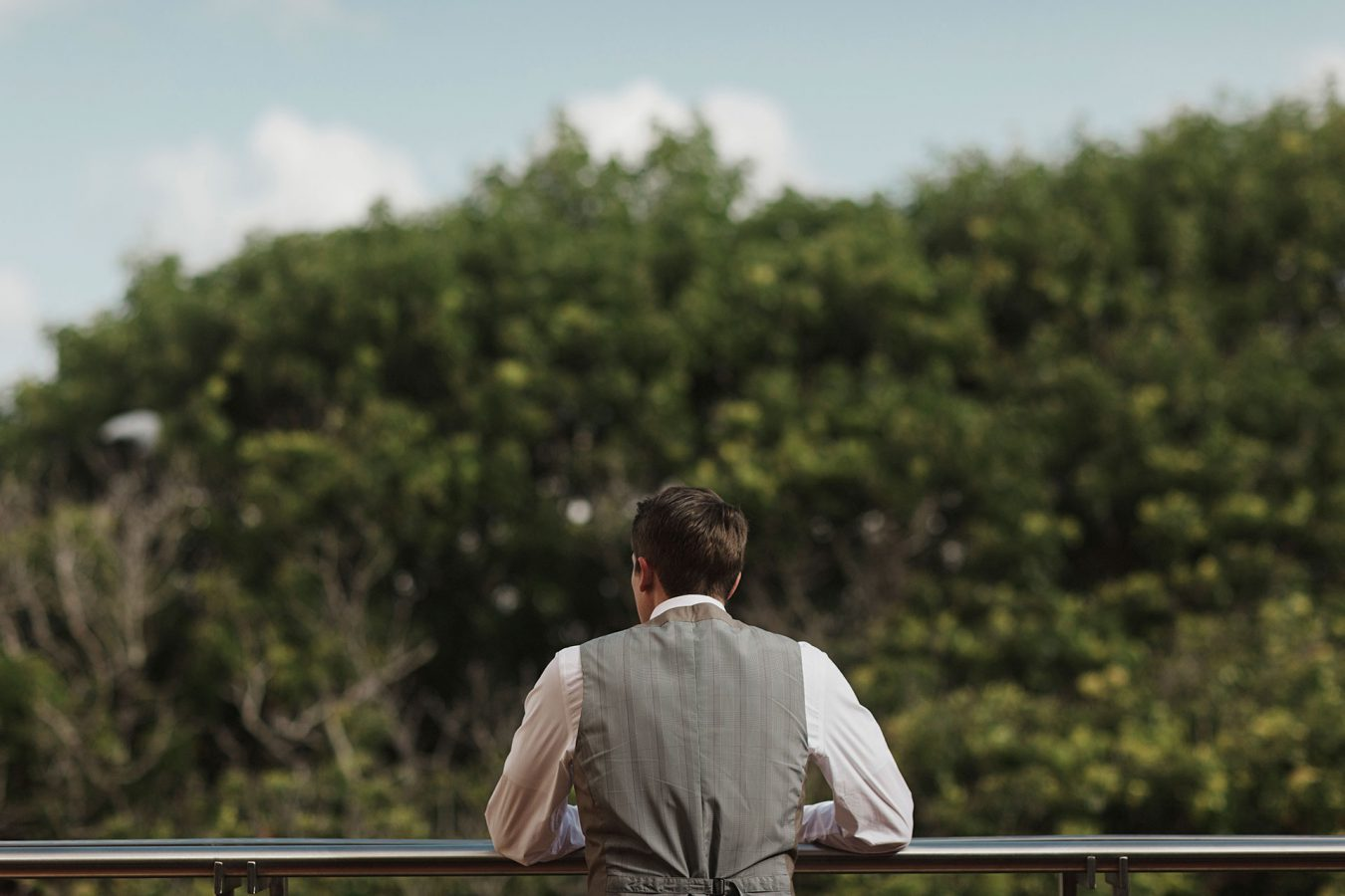 Groom waiting for his bride at the Hotel El Convento in Old san Juan Puerto Rico by Heather Elizabeth Photography